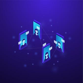 Isometric digital communication concept illustration