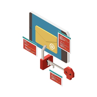 Изометрическая цифровая иллюстрация преступления с ключом электронной почты смартфона и замком 3d