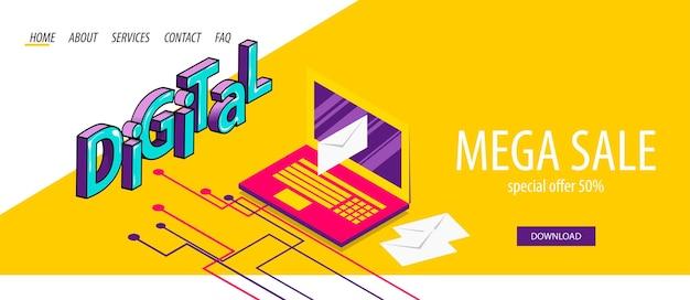 노트북으로 아이소메트릭 디지털 메일 보내기 들어오는 발신 이메일 만화 텍스트 3d