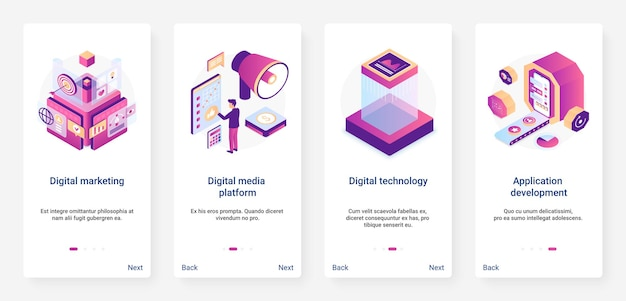 Isometric digital marketing application development ux mobile app page screen set
