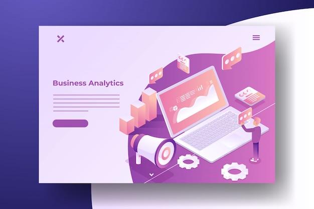 Isometric digital marketing banner