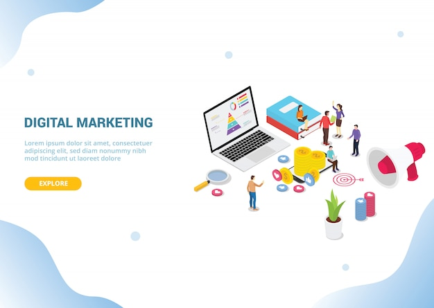 Isometric digital marketing concept for website template banner landing homepage