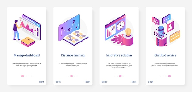 Isometric digital marketing, management solution ux, ui mobile app page screen set