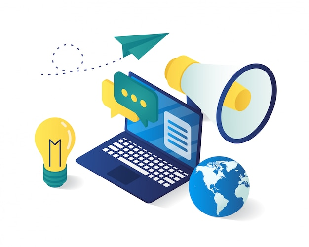 Isometric of digital marketing strategy composition