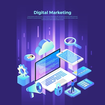 Isometric digital marketing