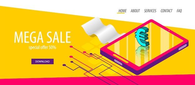 Изометрический цифровой экран планшета 3d комический текст поп-арт фраза для банка