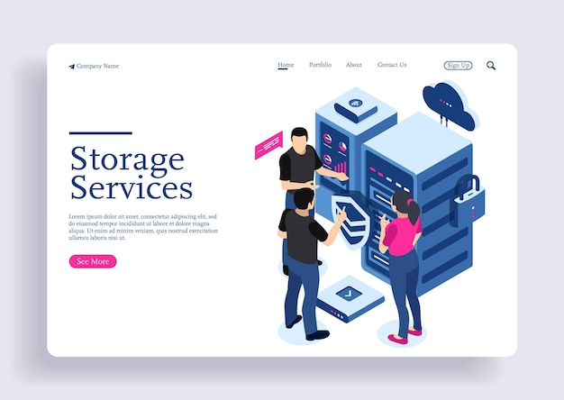 Isometric digital technology big data machine learning algorithms analysis and storage services