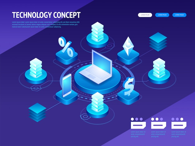 Isometric digital technology concept