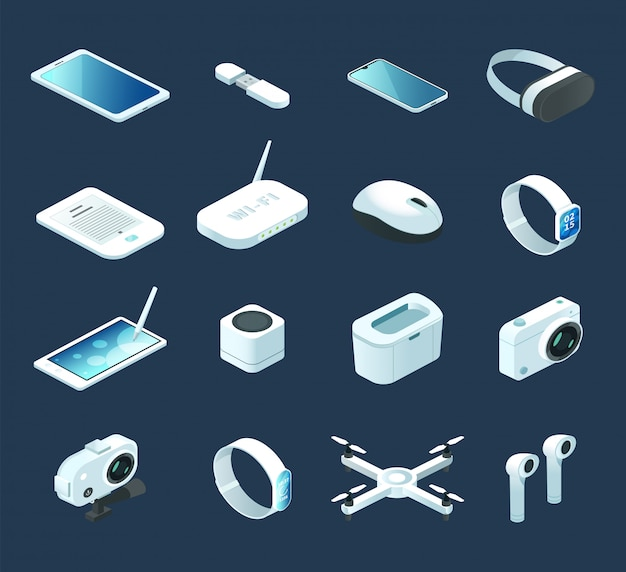 Isometric digital technology device. set with electronic gadgets, quadcopter