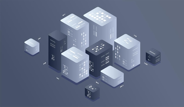 等尺性デジタル技術の図。ビッグデータ機械学習アルゴリズム。
