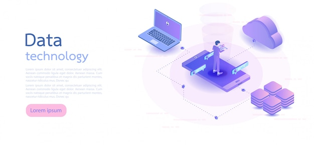 Isometric digital technology. isometric vector illustration.