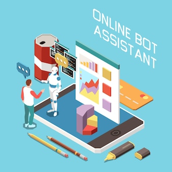 Isometric digitization composition with man talking to online bot assistant