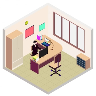 Isometric director office room icon