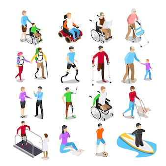Isometric disabled people. disability care, disabled elderly senior in wheelchair and limb prosthetics vector set
