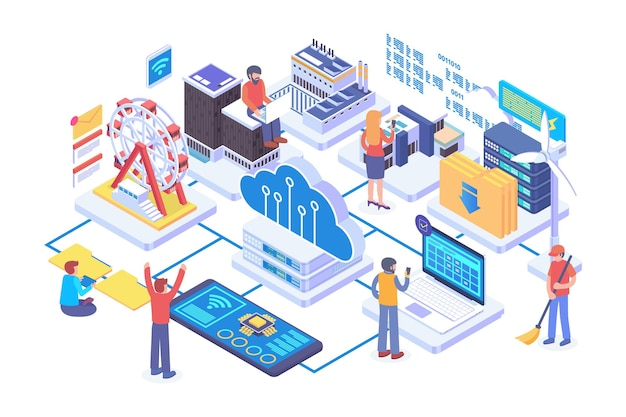 Isometric distributed cloud technology vector