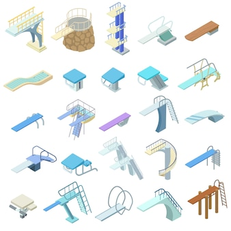 Isometric diving board set.