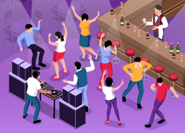 Composizione dj isometrica con vista del bar con bancone e gente che balla con la riproduzione di disk jockey