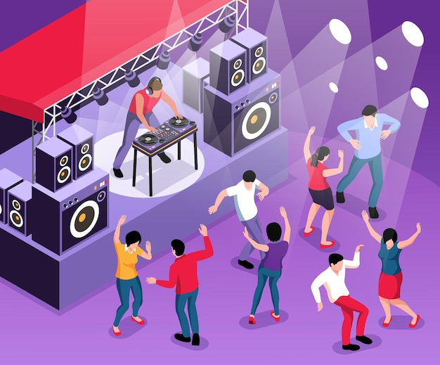 Isometric dj composition with view of dancefloor with disk jockey playing set on stage with dancers