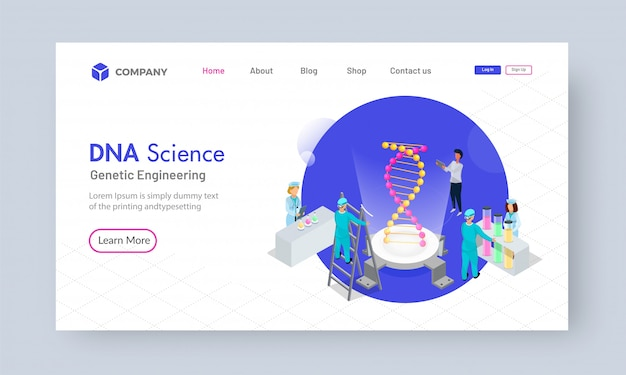Isometric dna science analysis concept