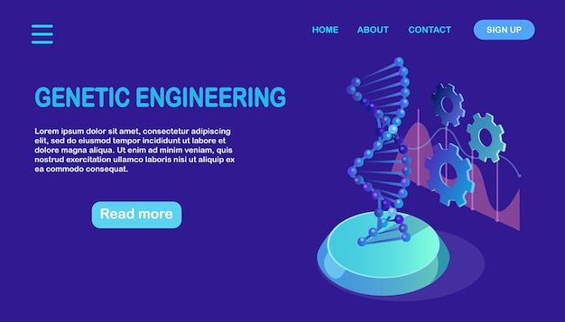 Isometric dna structure. science biotechnology concept