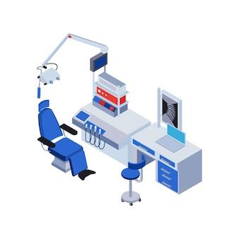 Isometric doctor equipment in 3d illustration