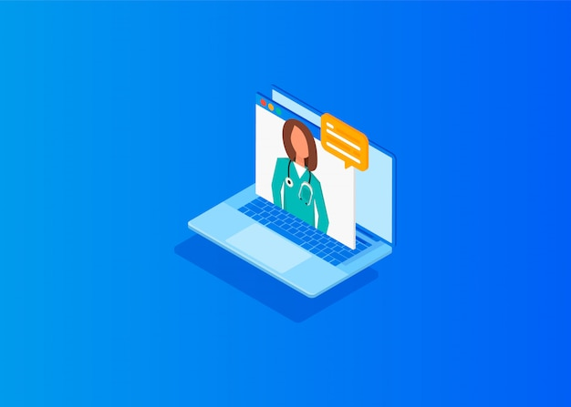 Isometric doctor online concept
