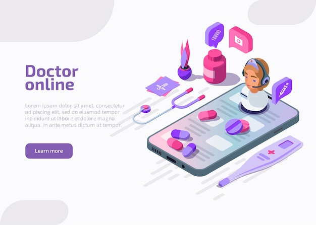 Isometric doctor online vector illustration.