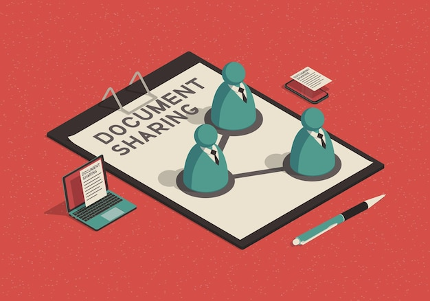 Isometric document sharing concept with abstract businessman
