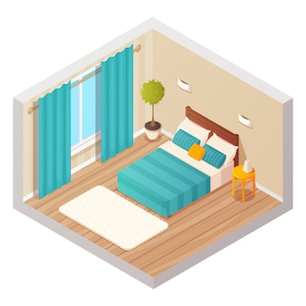 Isometric domestic bedroom interior design composition