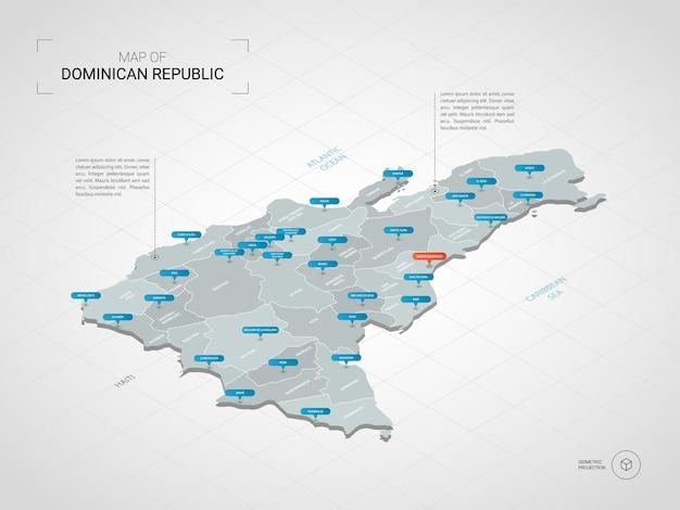 Изометрическая карта доминиканской республики. стилизованная иллюстрация карты с городами, границами, столицей, административным делением и указателями; градиентный фон с сеткой.