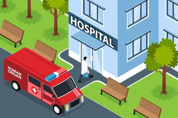 Composizione orizzontale degli organi umani del donatore isometrico con vista esterna del furgone di emergenza della costruzione dell'ospedale e del medico