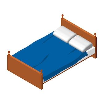 アイソメトリックダブルベッド。茶色の木製ベッド、白いマットレス、枕。青い毛布。寝室の家具。ベクトルeps10。