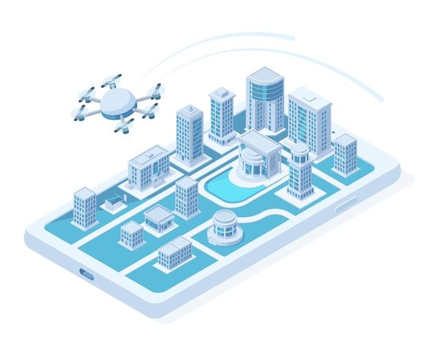 Изометрические беспилотные воздушные доставки, концепция цифровых инноваций квадрокоптера. летающий логистический квадрокоптер, доставка дрон транспортная векторная иллюстрация. современная городская концепция воздушной доставки изометрии