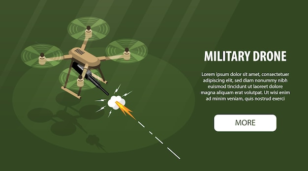 Isometric  drone  horizontal  banner  with  editable  text  more  button  and  image  of  flying  quadcopter  with  gun    illustration