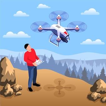 Composizione isometrica dell'operatore di droni con paesaggio all'aperto selvaggio e uomo con dispositivo remoto e illustrazione di quadricottero volante