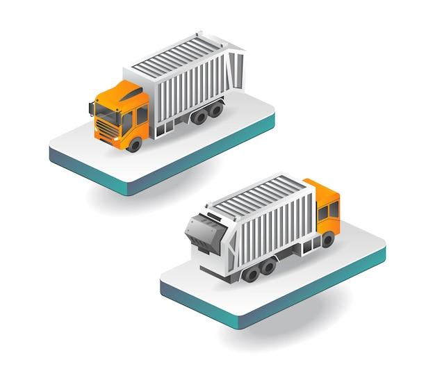 等尺性ダンプトラックの正面図と背面図