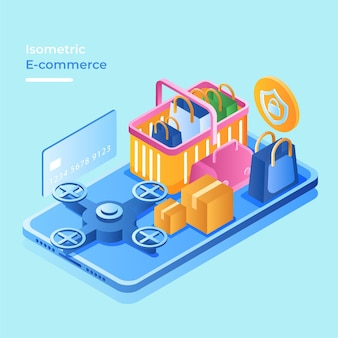 Isometric e-commerce concept with online shop