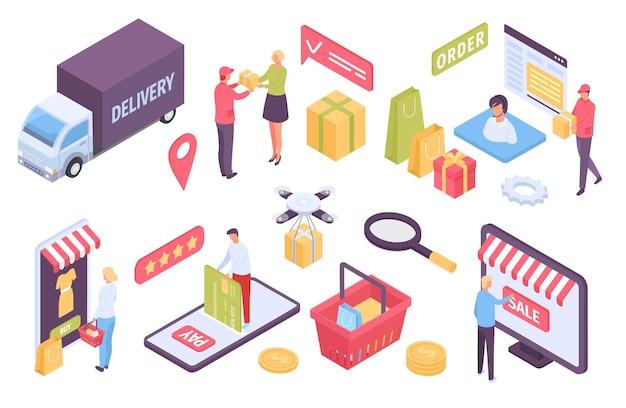 アイソメトリックeコマース。オンラインストアで買い物をし、カードで支払う顧客。トラック、ドローン、または宅配便での配達。マーケットプレイスベクトルセット