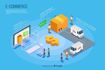 Isometric e-commerce elements background