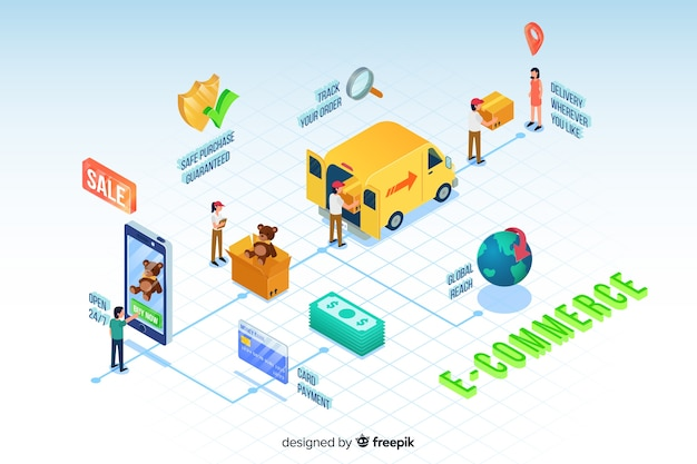 Isometric e-commerce elements background