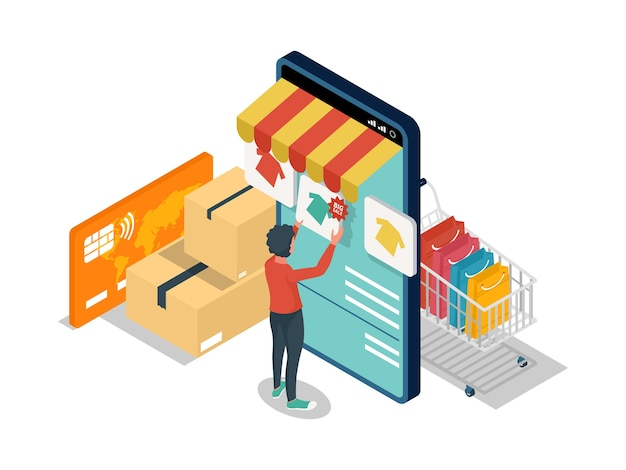 Isometric e-commerce illustration concept with character selects items on online shop at the mobile phone.