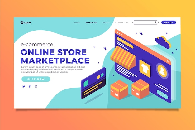 Isometric e-commerce landing page template