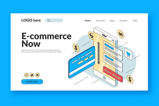 Isometric e-commerce landing page