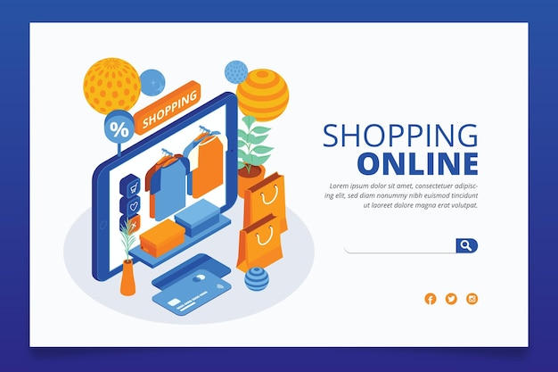 Isometric e-commerce - landing pages