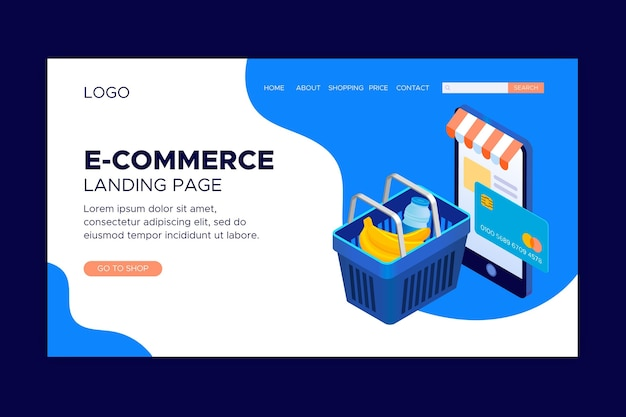 Isometric e-commerce landing pages