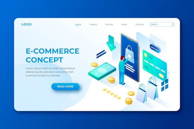 Isometric  e-commerce template