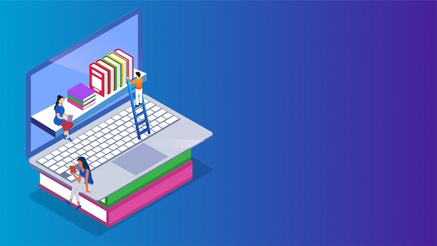 Isometric e-library or online library on laptop.