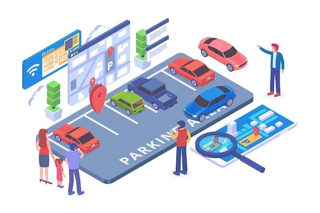 Isometric e parking application vector concept