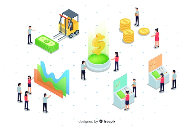 Isometric e-wallet elements and charts