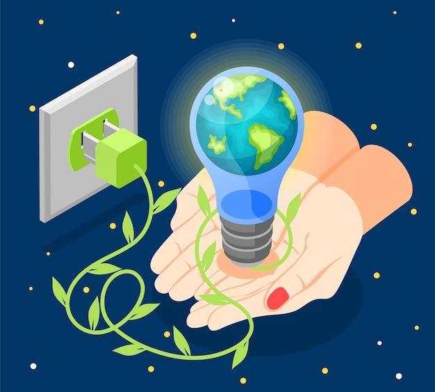 Изометрическая композиция час земли с человеческими руками, держащими глобус в лампочке